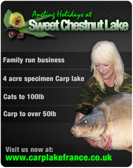 Angling Holidays at Sweet Chestnut Lake, family run business, 4 acres specimen carp lake, cats to 100lb, carp to over 50lb visit us now at www.carplakefrance.co.uk