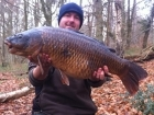 Nick Howard 21lbs 8oz Common Carp, Mainline.. caught on a new rig, stiff hinged boom, chod, size 8 hook, white cell popup.