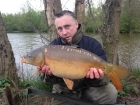 Kieron Axten 12lbs 0oz Mirror Carp from Cudmore Fisheries using Solar Club Mix (Squid & Octopus, Stimulin and Anchovy).