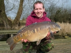 Mick Sumner 16lbs 8oz Mirror Carp from Drayton Reservoir using HBS pineapple.. Great day today - around 13 fish between us.