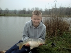 Alistair Hattersley 7lbs 2oz Common Carp from Cudmore Fisheries using Cudmore fisheries.. Double hair rigged 12mm pellets.