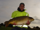 Juan Coetzee 37lbs 8oz Common Carp from Baden Hall Fisheries using richworth.. cuaght  on KG1 boilie and double maize
