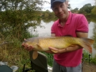 Steven Spilsbury 19lbs 3oz carp from Pool Hall Fisheries using dynamite baits.. well i was landing a fish for me dad just bout to land it and mine screemed off a 1 toner this was my first fish of the