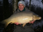 30lbs 2oz Mirror Carp from Sweet Chestnut Lake. Waggler in 12ft deep corner of lake, with cooked maize as hookbait.