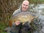 Paul Fletcher 12lbs 4oz Common Carp from Birch House Lakes using Quest Bait  - Surf n Turf.. Using stalking tactics - Pellet Waggler Rod, Centerpin reel and 6 lbs line.