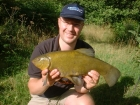 5lbs 1oz Tench from Private Estate Lake. Float fish tactics in margins. 12ft Shimano Rod to Daiwa reel loaded with 5lbs Drennan line.