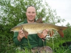 10lbs 6oz Barbel from River Dove using Dynamite.. Caught under nearside bush in 2 feet of fast water. Greys X-Flite barbel rod, Okuma reel and normal feeder tactics.